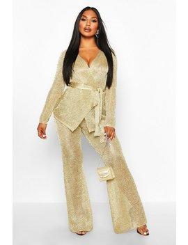 Premium Metallic Knitted Wrap Top & Trouser Set by Boohoo