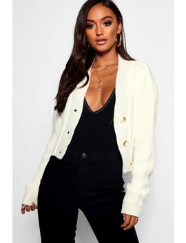 Petite V Neck Plunge Button Up Crop Cardigan by Boohoo