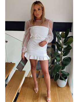 Charlotte Crosby White Organza Balloon Sleeve Mini Dress by In The Style