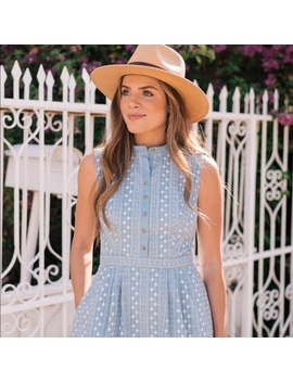 Quinn Embroidered Chambray Fit & Flare Dress New   Boutique by Gal Meets Glam