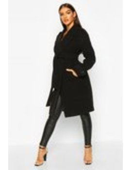 Belted Collared Wool Look Coat Belted Collared Wool Look Coat by Boohoo