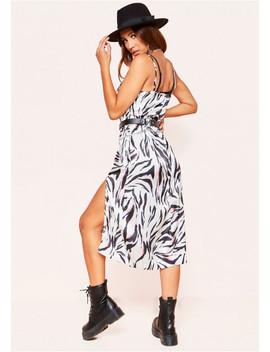 Davina Zebra Print Slip Split Dress by Missy Empire
