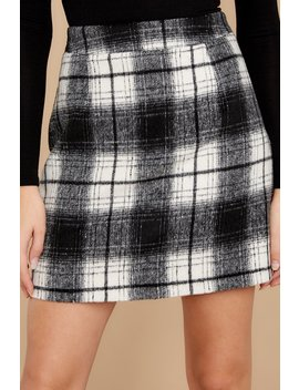 As If White And Black Plaid Skirt by Entro