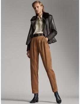 Spodnie Z Mikrosztruksu Z ZakŁadkami by Massimo Dutti