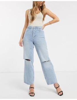 asos-design-–-lässige-dad-jeans-mit-hohem-bund-und-zierrissen-in-heller-vintage-waschung by asos