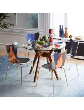 Jensen Round Table, Glass/Walnut by West Elm
