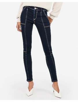 Mid Rise Denim Perfect Seamed Ankle Leggings by Express