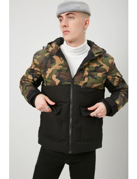 Colorblock Camo Puffer Jacket by Forever 21