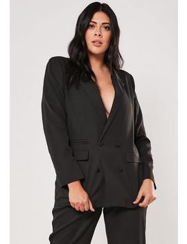 Plus Size Black Co Ord Boyfriend Blazer by Missguided