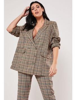 Plus Size Brown Co Ord Check Boyfriend Blazer by Missguided