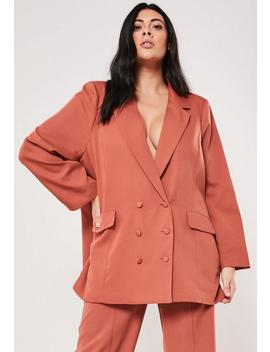 Plus Size Rust Co Ord Boyfriend Blazer by Missguided