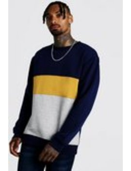Colour Block Loose Fit Sweatshirt by Boohoo Man