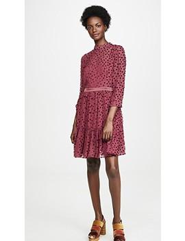 Long Sleeve Velvet Dot Dress by Rebecca Taylor