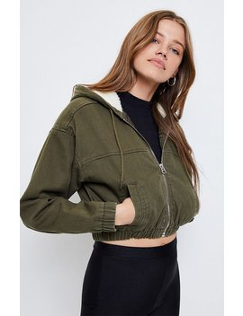 Pac Sun Olive Hooded Bomber Jacket by Pacsun