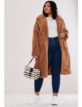 Plus Size Tan Oversized Long Teddy Coat by Missguided