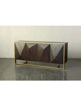 Dark Brown 3 Dimensional Sideboard On Metal Stand by Living Spaces