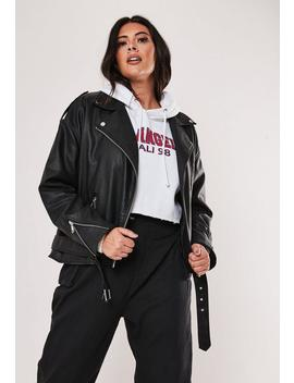 Plus Size Black Faux Leather Boyfriend Biker Jacket by Missguided