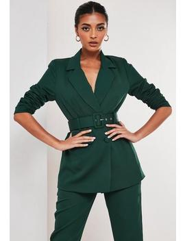 Green Co Ord Belted Blazer by Missguided