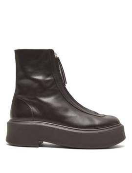 Zip Front Leather Ankle Boots by The Row