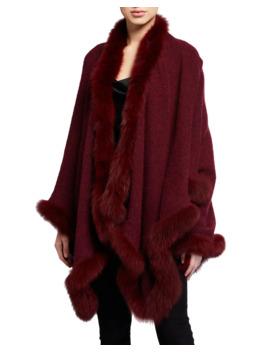 Kamala Oversized Poncho With Fur Trim by Alice + Olivia