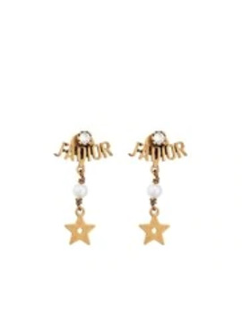 White Resin Bead And Crystal 'J'adior' Antique Gold Finish Drop Earrings by Dior