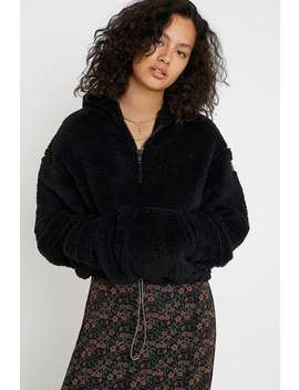 Uo Black Fluffy Hoodie by Urban Outfitters
