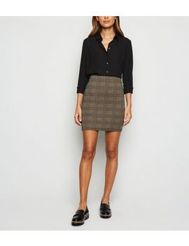 brown-houndstooth-check-mini-tube-skirt by new-look