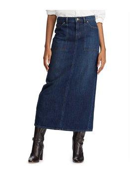 Denim Back Slit Maxi Skirt by Lauren Ralph Lauren