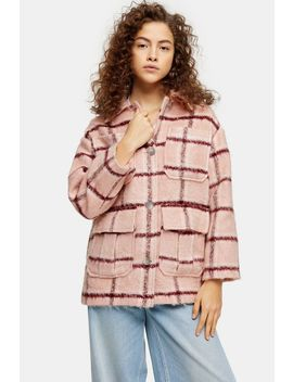 Petite Pink Check Longline Jacket by Topshop
