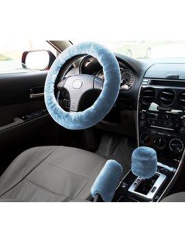 Zone Tech Non Slip Car Decoration Steering Wheel Handbrake Gear Shift Plush Cover (Blue) by Zone Tech