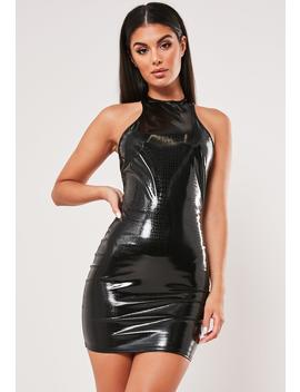 Black Croc Effect Vinyl Mini Dress by Missguided