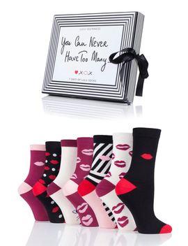 Ladies 7 Pair Lulu Guinness Gift Boxed 7 Days Of Lulu Socks by Sock Shop