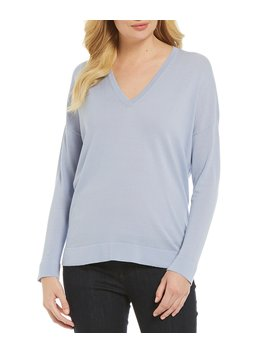V Neck Elongated Boxy Sweater by Eileen Fisher