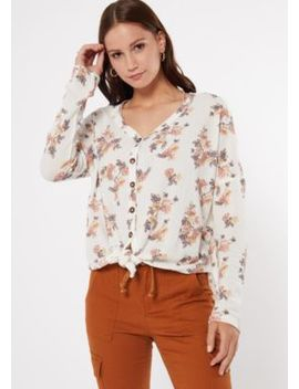 Ivory Floral Print Tie Front Waffle Knit Top by Rue21