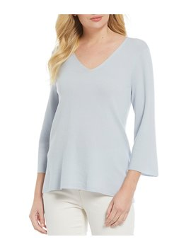 V Neck 3/4 Sleeve Wool Sweater by Eileen Fisher
