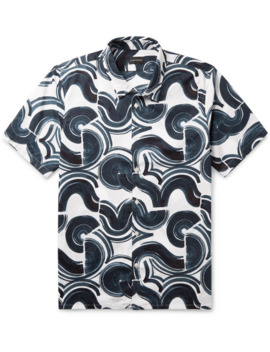 Slim Fit Button Down Collar Printed Cotton Ripstop Shirt by Club Monaco