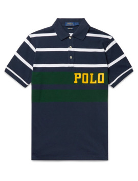 Logo Print Striped Cotton Piqué Polo Shirt by Polo Ralph Lauren