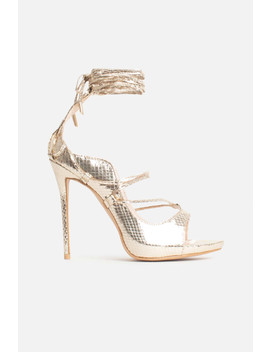 Mindy Lace Up Heels In Gold Vegan Snake Leather by Luxe To Kill