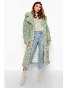 Curly Faux Fur Belted Longline Coat by Boohoo