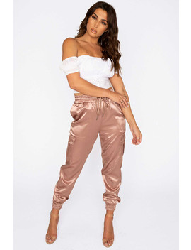 Pinktaupe Satin Cargo Pants by Luxe To Kill