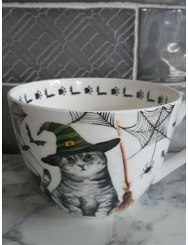 Portobello By Design Pumpkin Cauldron And Witches Tabby Cat Bats Halloween Mug by Ebay Seller