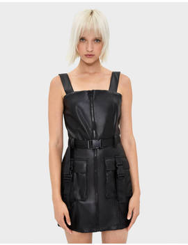 Faux Leather Utility Dress by Bershka