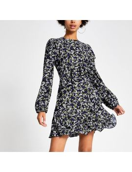 Blue Floral Print Ruffle Mini Smock Dress by River Island