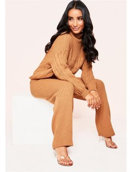 Serena Tan Cable Knit Co Ord Set by Missy Empire