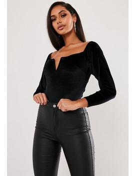Black Velvet V Bar Square Neck Bodysuit by Missguided