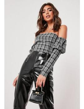 Grey Check Print Long Sleeve Bardot Top by Missguided