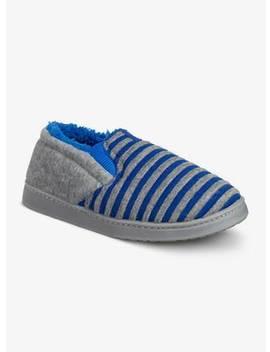 Grey & Blue Stripe Slippers   13 Infanttuc135814749 by Argos