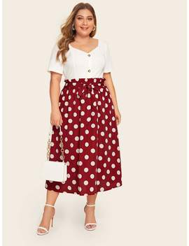 Plus Polka Dot Tie Front Paperbag Skirt by Shein