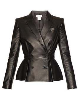 pleat-front-double-breasted-leather-jacket by alexander-mcqueen