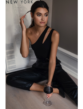 One Shoulder Cut Out Body Black by Na Kd Party